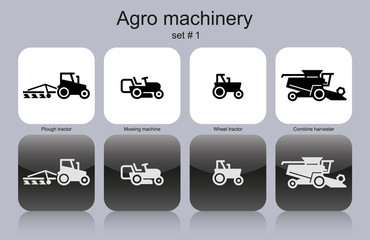 Agro machinery icons