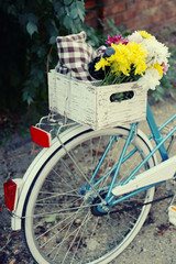 Old bicycle with flowers in metal basket, camera and checkered