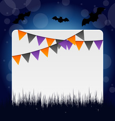 Halloween invitation with hanging flags