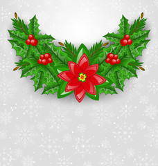 Christmas decoration with holly berry, pine and poinsettia