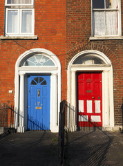 typical colorful doors houses Dublin Ireland Europe