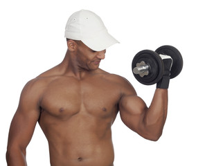 Handsome guy training with dumbbells