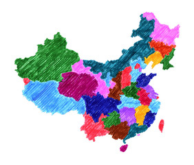 Administrative map of China isolated on white