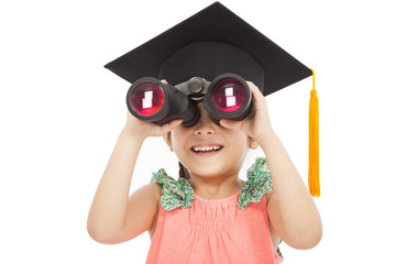 Little girl student looking through binoculars.