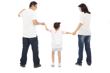 happy little girl hold parents hands. isolated on white backgrou