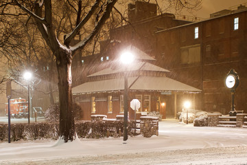 Snowing at the Old Railroad Station