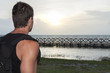 Hiker observing sunrise
