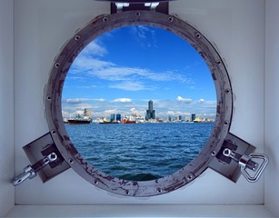 Beautiful Kaohsiung Port Seen Through a Porthole of a Ship
