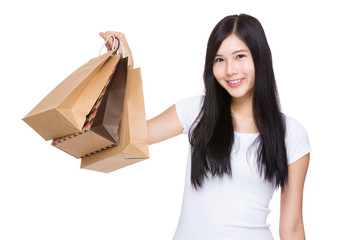 Happy woman hold with shopping bag