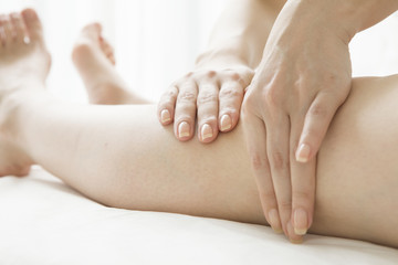 Lymphatic massage of legs