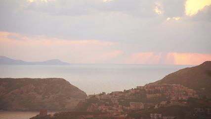 Sunrise at coast Scenic bay in Crete, Greece. Time lapse.