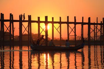 Silhouette of U bein bridge at sunset