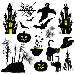 Halloween objects isolated on white background.