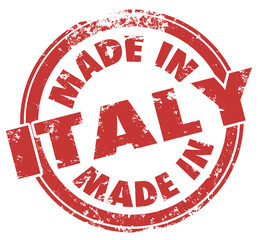 Made in Italy Words Red Round Stamp Italian Goods Products Pride