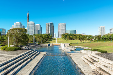 Landscape water park prospects the buildings of landmark