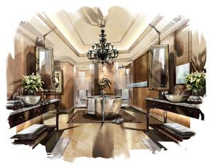 rendering painting interior,rendering Bathrooms
