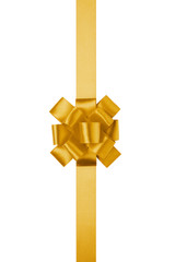 yellow vertical big present or award bow with ribbon