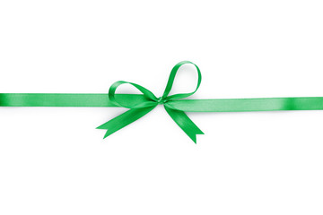 green thin ribbon with bow