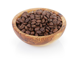 roasted coffee beans in olive wood bowl