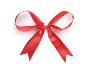 red thin ribbon bow