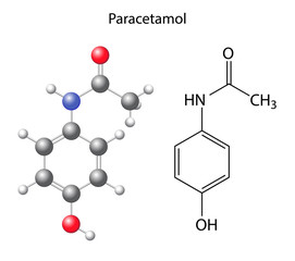 Paracetamol - structural chemical formula of the analgesic