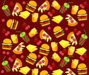 Vector of Fast Food Pattern