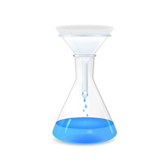 Filtration of solution in a conical flask