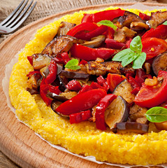 Polenta with vegetables - corn grits pizza with tomato and eggpl