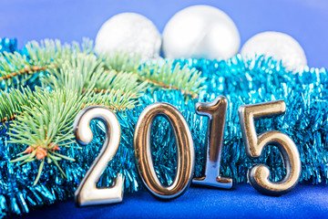 New Year background with  fir decorations.