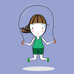 Cartoon girl skipping rope