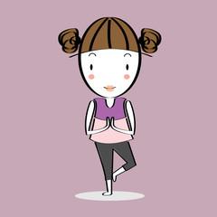 Cartoon illustration girl practising yoga