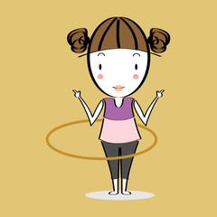 Cartoon illustration girl twirling hoop