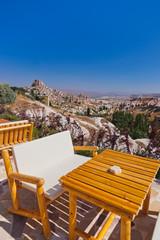Cafe at cave city in Cappadocia Turkey