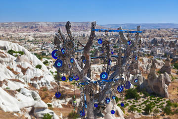 Tree and evil eye amulet in Cappadocia Turkey