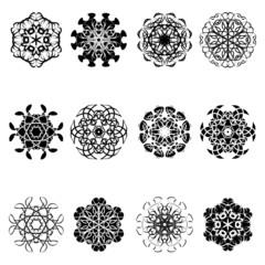 set of flower shape icon design vector