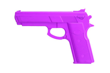 Purple training gun isolated on white