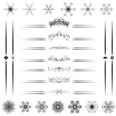 Set Calligraphic line design vector illustrator