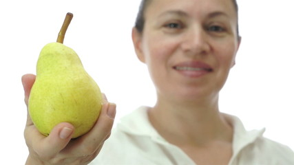 Woman Giving a Bartlett Williams Pear