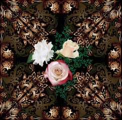 dark brown decorated square with three roses