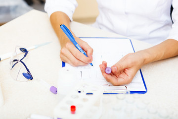 Scientist working with samples