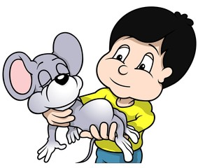 Boy Holding Sleeping Mouse - Cartoon