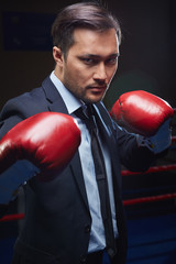 Kick-boxer in formalwear