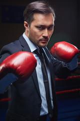 Kick-boxer in formalwear