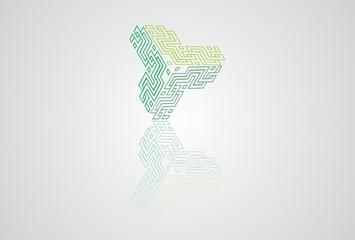 triple logo, labirin, green, simbol, hexagon