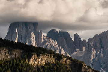 sunset over peaks in Dolomites