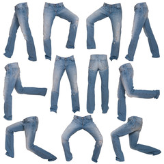 men's jeans in different poses