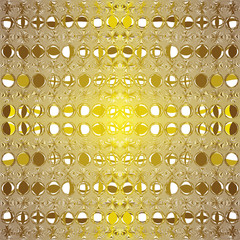 Seamless pattern with grunge circles in golden colors