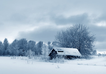 Winter, country house