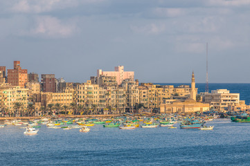 View of Alexandria harbor, Egypt