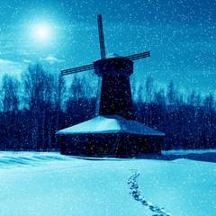 Winter night, mill